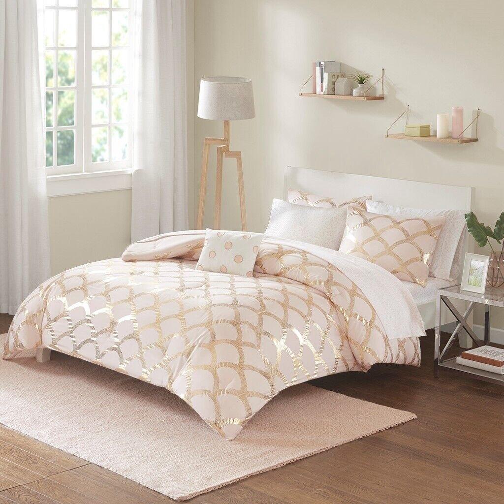 Luxury Pink Blush Metallic Gold Scallop Design Comforter Set And Sheet Set For Sale Online