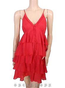 Robe-MANOUKIAN-Rouge-T-38-40-M-L-2-3-Volants-1920-Tunique-Dress-Kleid-vestido