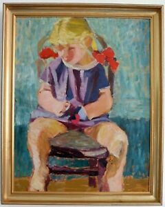 Girl-with-Red-Bows-in-Hair-Expressionist-Middle-20-Jh-Signed-New