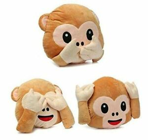 Frantic Pandora Soft Plush Decorative Monkey Pillow Cushion Pack of 3