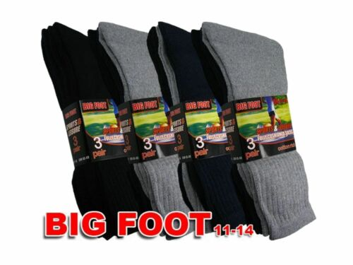 "3 Mens /""BIG FOOT/"" Cotton Rich Casual Sport Work Socks UK 11-14"