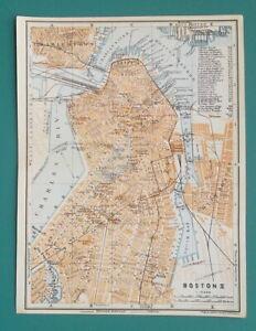 BOSTON-Town-Center-Plan-Massachusetts-1909-MAP-Baedeker-6-x-8-034-15-x-20-cm
