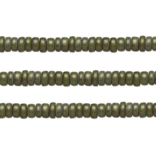 Wood Rondelle Beads Dark Forest Green 8x4mm 16 Inch Strand