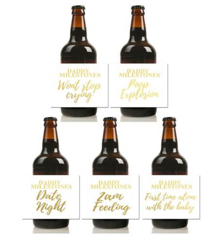 Papa Jalons Vinyle bouteille bière étiquettes Nouveau Papa Cadeau Or Blanc Imperméable