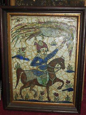 Antique Middle Eastern Persian Tile Falcon Horse