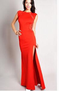 f24080cb3ea Caricamento dell'immagine in corso Elegante-Abito-vestito-lungo-colore-rosso -con-spacco-