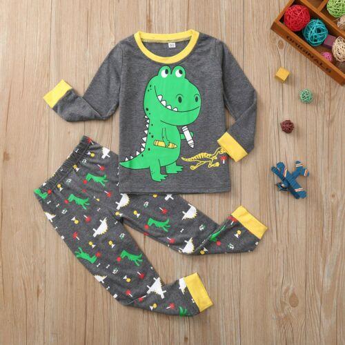 Baby Kids Boys Girls Long Sleeve Dinosaur Printed Tops+Pants Pajamas Outfit Set