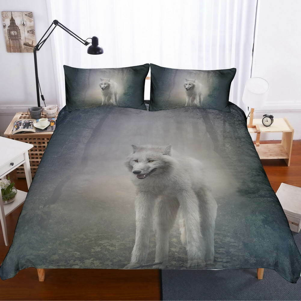 A Wolf Weiß Hair 3D Quilt Duvet Doona Cover Set Single Double Queen King Print