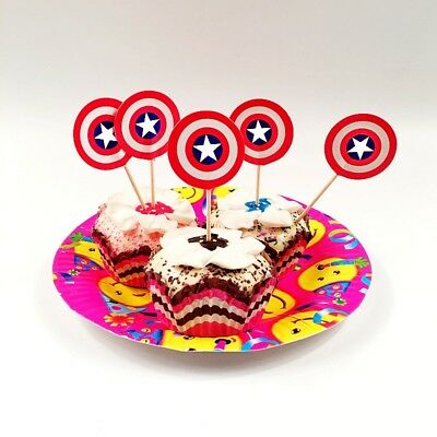 Amazing Captain America Logo Avengers Cake Cupcake Toppers Picks Boys Funny Birthday Cards Online Elaedamsfinfo