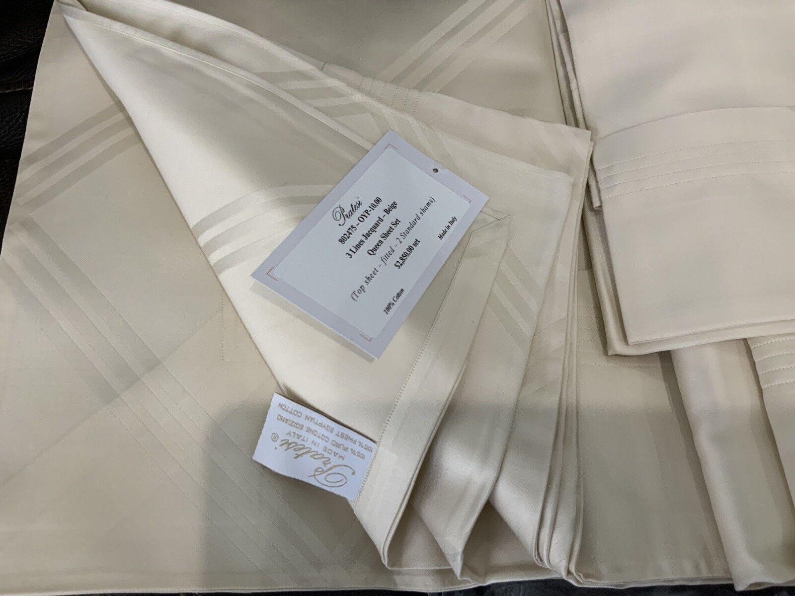 2850 Pratesi  760TC NWT 4pc Queen Sheet Set Beige 100% Cotton Jacquard
