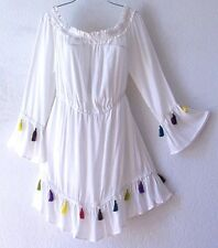 NEW~White Ivory Tassel Trim Ruffle Peasant Boho Beach Tunic Dress~12/14/L/Large