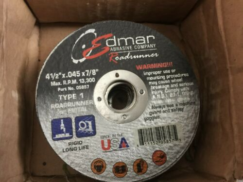 "BOX OF 25 Edmar Abrasive wheel 4 1//2/""X.045X.7//8 TYPE 1 for metal use MODEL 05857"