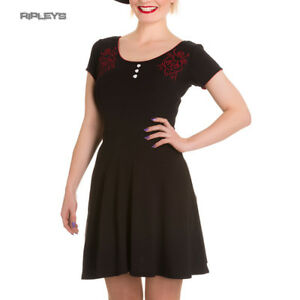 HELL-BUNNY-Jersey-Mini-Dress-DAGGER-of-Hearts-Skater-Red-Rose-All-Sizes
