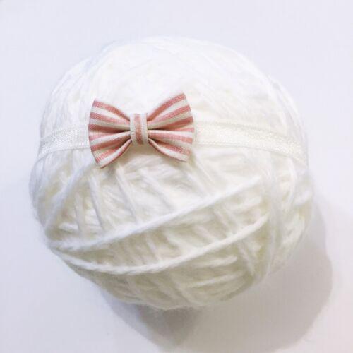 3X Mini Dusty Pink bow headbands baby Newborn Toddler Girl Bow headbands HB095