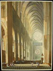 Watercolour-Original-c1920-One-Messe-in-La-Cathedral-Our-Lady-of-Reims-H38cm