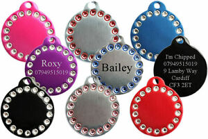 Round-Crystal-Pet-ID-Dog-Tag-Disc-FREE-ENGRAVING