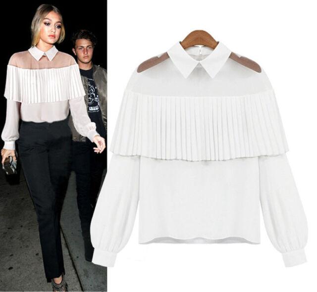 Sexy Women's Lace Sheer Tops Tee Long Sleeve Shirt Casual Blouse Loose T-shirt