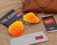 RayBan Aviator Sunglasses Matte Gold Frame RB3025 112/69 Orange Mirror Lens 58mm