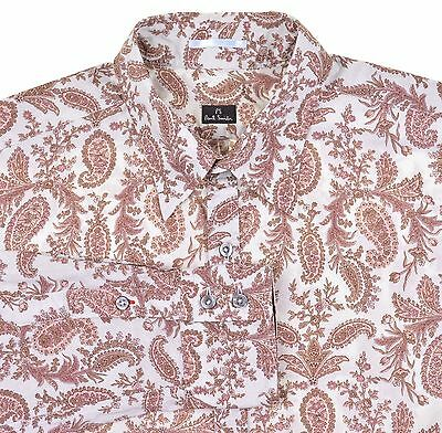 Paul Smith Brown Blue JUMBO Paisley Pattern Button Down Casual Dress Shirt L