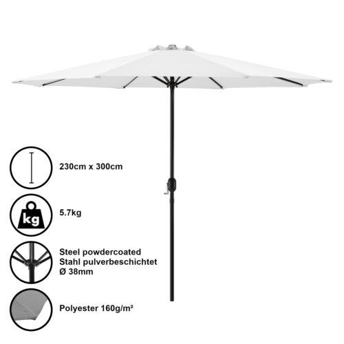 casa.pro ® Sonnenschirm Ø300cm weiß Kurbel Schirm Gartenschirm Sonnenschutz