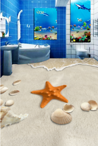 3D Starfish Shells 55 Floor WallPaper Murals Wall Print 5D AJ WALLPAPER UK Lemon