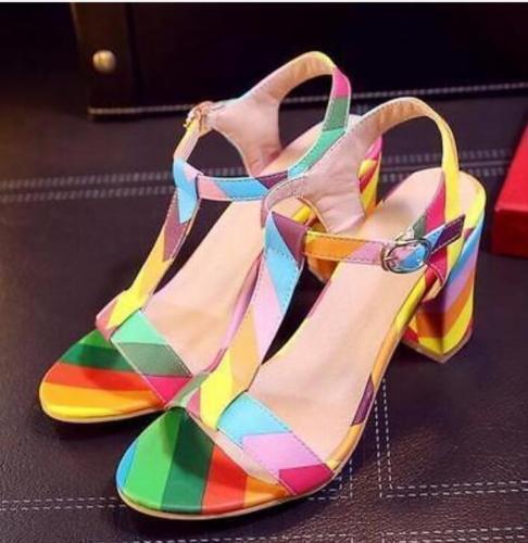 HOT Women Rainbow Open Toe T-Strap Multi-Color Block Mid-Heel  Sandal Big Sz ys6