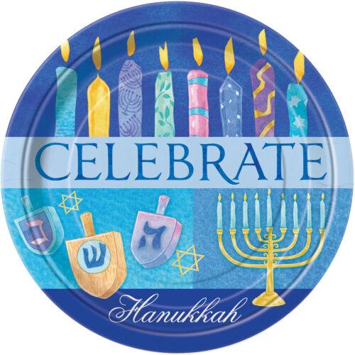 Hanukkah Party Supplies FREE P/&P 8 x Celebrate Hanukkah Paper Plates 9 inch