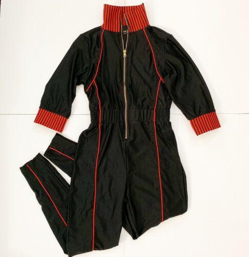 DesIgner ARIA  Vintage Nylon Jumpsuit Black/Red Si