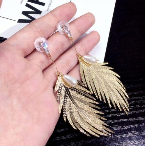 Fashion Charm Women Gold Plated Round Pearl Dangle Drop Earrings Stud Jewelry
