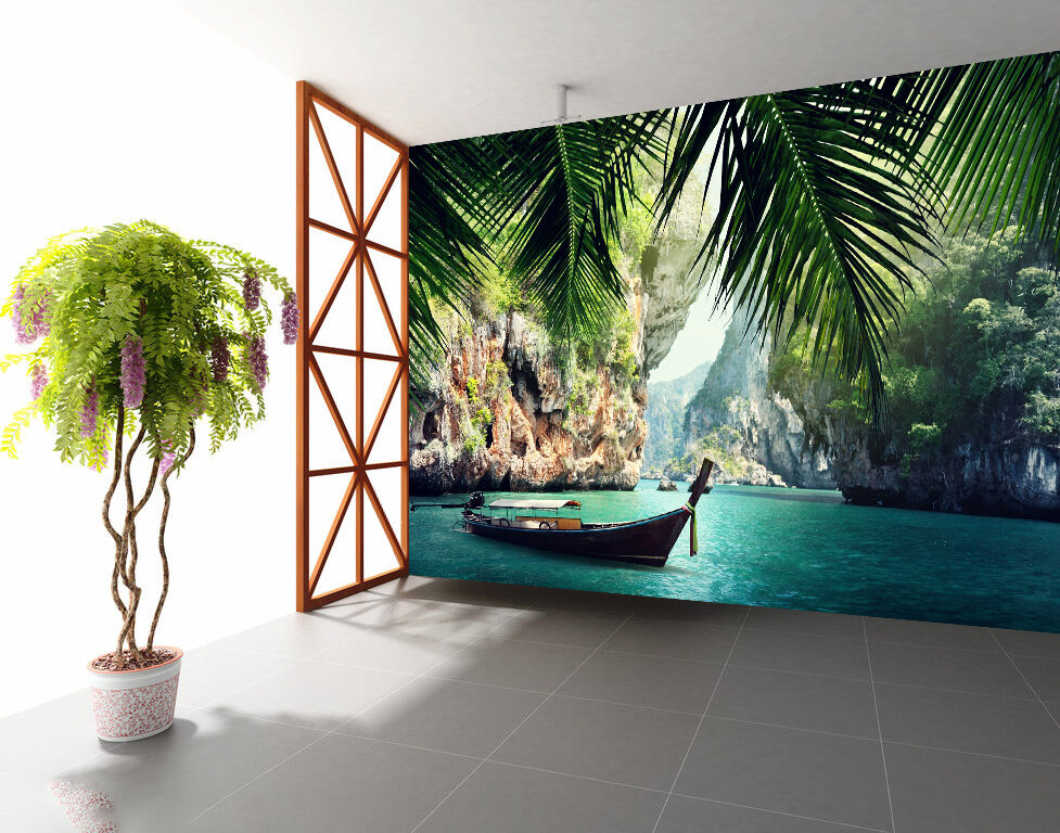 3D Grün Leaf Lake 825 Wallpaper Mural Paper Wall Print Wallpaper Murals UK