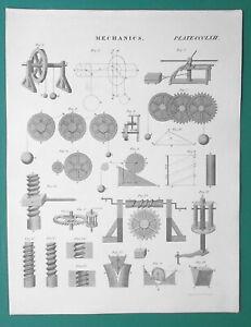 MECHANICS-Mechanical-Forces-Powers-Wheels-Pinion-Screw-1818-Antique-Print