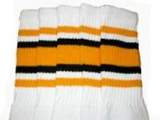 "22"" KNEE HIGH WHITE tube socks with GOLD/BLACK stripes style 4 (22-86)"