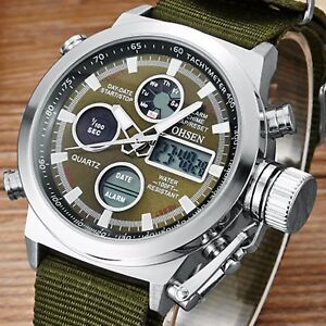 Men Wristwatch Military Army Analog Digital Quartz Green Nylon Canvas Sport 3ATM