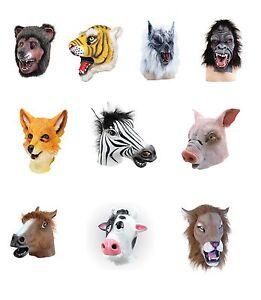 ANIMALS-NATURE-RUBBER-OVERHEAD-MASK-LION-COW-ZEBRA-HORSE-OWL-CAMEL-FANCY-DRESS