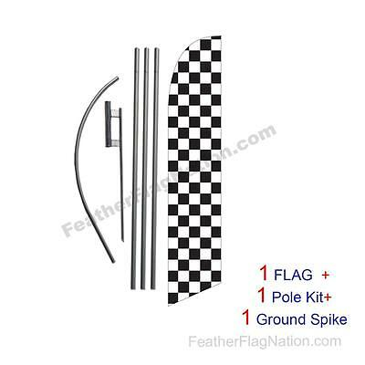 two CHECKERED green//white 15 WINDLESS SWOOPER FLAGS KIT 2