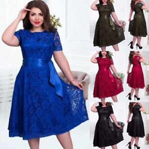 2b3959883 Women Lady Casual Lace Floral Dress Formal Party Prom Mini Dress ...