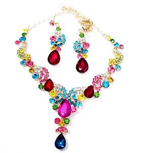 Necklace-Earring-Set-Rhinestone-Austrian-Crystal-Multi-Color