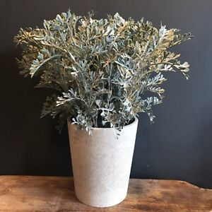 Tall Artificial Potted Dusty Miller Faux Plant In A Stone Plant