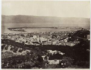 Italia-Panorama-Di-Messina-Sommer-Vintage-Albumina-Ca-1875