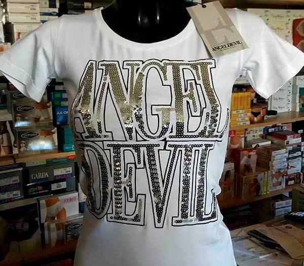 In Logo Devil T Girocollo Maglia Shirt Paillettes Angel Con Donna eWIYED2H9