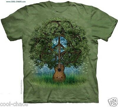 Tree of Life Guitar Tie Dye T-Shirt-Whimsical Psychedelic Art Tee,World Peace