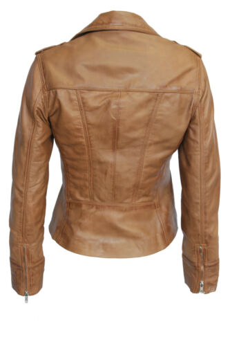 Tan Women's Retro Designer Fashion Kelly cuir Model souple Ladies Veste en wOEx5Cq7