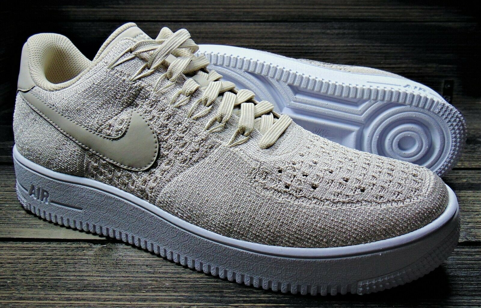 NIKE MEN'S AF1 ULTRA FLYKNIT LOW STRING WHITE TRAINERS   SZ 11.5   817419-200