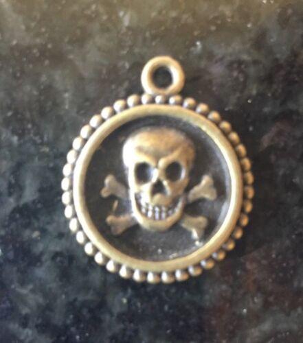Amulett Sacre Totenkopf Anhänger Miniatur Thai Messing Golden Thailand Asien