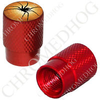 2 Red - Billet Aluminum Custom Valve Caps For Motorcycle & Cars - Spider & Web
