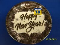 Years Gala Black White Happy Year Holiday Party 9 Paper Dinner Plates