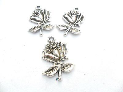 5 x Tibetan Silver Large Rose Charms Lead /& PB Free