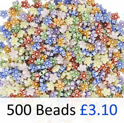 500 Flower Pony Beads Mixed Bright Colours 9mm