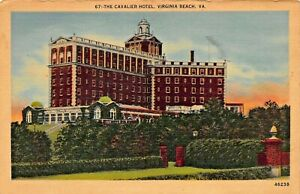 VIRGINIA-BEACH-VA-CAVALIER-HOTEL-LOT-5-1940s-POSTCARDS-NIGHT-GARDENS-GOLF-CROQUE