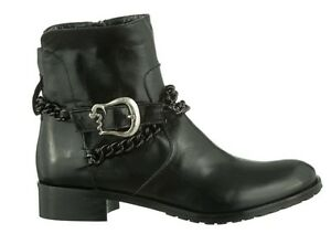 MORI-ITALY-ANKLE-HEELS-FLAT-BOOTS-STIEFEL-STIVALI-CHAIN-LEATHER-BLACK-NERO-44